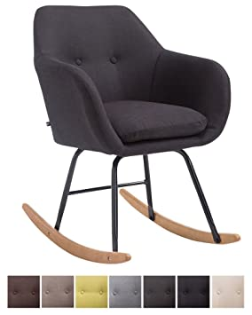 CLP Rocking Chair AVALON, Seat Fabric Cover, Metal Frame, Relaxing Armchair  Wooden Runners