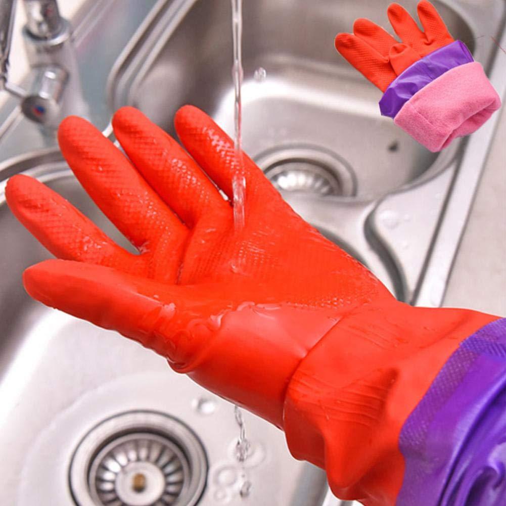 poetryer Guante De Limpieza De Goma Guantes De Cocina De Manga Larga Calentar Guantes De Limpieza para Lavar Platos Resistente Al Agua para El Hogar Cocina Coche