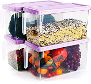 MineDecor Plastic Storage Containers Square Food Storage Organizer Stackable Refrigerator Organizer Handle Kitchen Containers with Lids for Fruits Vegetables Meat Egg, 4-pack (Purple)