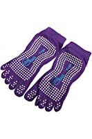 Yoga Sock - hao Yoga Men Women Fulltoe Grip Exercise Gym Non-slip Dots Cotton Sock Purple
