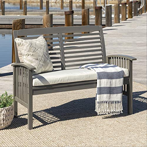 Walker Edison Furniture Company AZWLSGW Wood Outdoor Patio Ladder Back Loveseat Chair with Washable Cushions All Weather Backyard Conversation Garden Poolside Balcony Couch, Grey