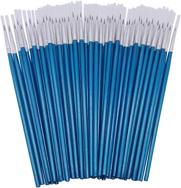 [60 Pack] Pointed Round Painting Brush,Hand Made Thread Drawing Brush,Detail Paint Brush for Acrylic, Oil and Watercolor (S(#0))