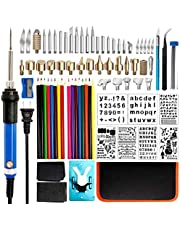 80Pcs Wood Burning Kit Full Set, Creative Woodburner Set with Adjustable Temperature Pyrography Pen, Included Various Wood Embossing/Carving/Soldering Tips/Stencils/Pencils/Stand and Sharpener