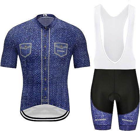 CYCPACK Camisa Vaquera Oscura Verano los Hombres Que compite con Manga Corta Ciclismo Jersey Traje Pro - Deporte al Aire Libre Camino Bici Jersey, Transpirable Pantalones Cortos Deporte Conjunto,XL: Amazon.es: Hogar