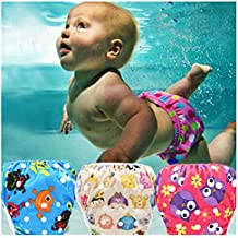 Baby Swim Diaper Reusable Leakproof Elastic Infant Pool Pant Toddler Boys Girls Adjustable Swimwear Swimming Trunks Shorts for 0-3 Years Baby (R19, Elastic Button Adjustable)