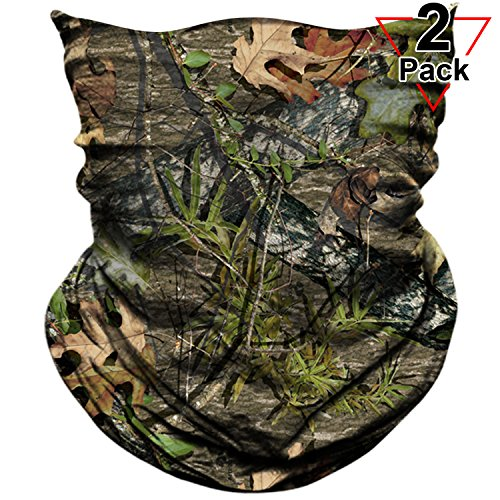 AXBXCX 2 Pack - Camouflage Print Seamless Neck Gaiter Bandana Face Shield Mask Headband Headwear Sweatband Wristband Scarf for Fishing Hiking Hunting Cycling Motorcycle Riding Skiing Outdoor Sport (Atv Hunting)