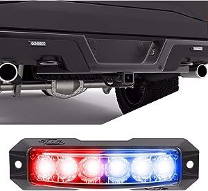 SpeedTech Lights Z-180 TIR 18W LED Strobe Light for Police Cars, Construction Trucks, Service Vehicles, Plows, Emergency Vehicles. Surface Mount Grille Flashing Hazard Beacon Light - Red/Blue