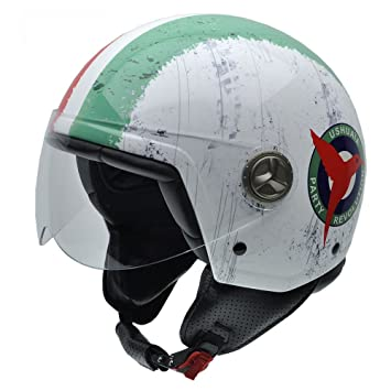 NZI 050315G827 Zeta Italia by Ushuaïa Casco de Moto, Color Blanco, Rojo y Verde