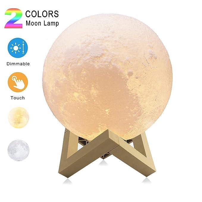 Lámparas luna 3D Sebami Luz Nocturna Luna LED Lampara Luna control táctil Brillo con puerto de carga USB Luz de Noche Ambiente Lámparas para Niños Be