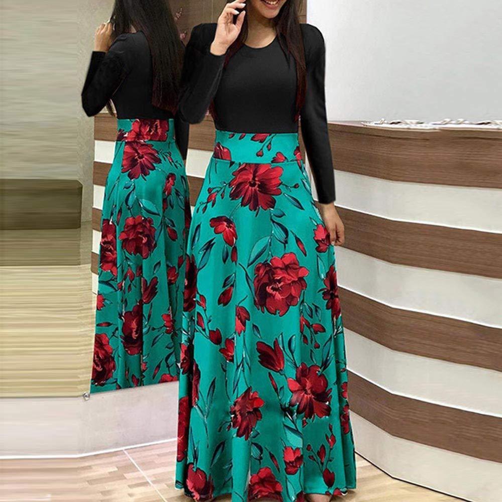 TOFOTL Womens Dress Stylish O Neck Print Party Dress Beach Dress Floor Length Dresses