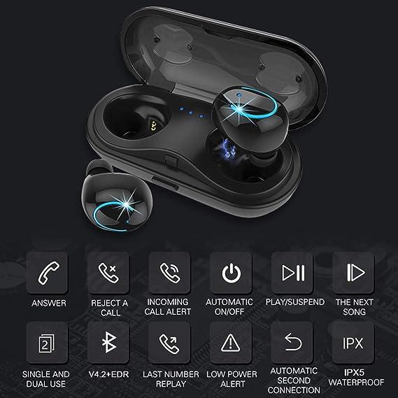 Auriculares Bluetooth,Auriculares estéreo Bluetooth In-Auriculares en la Oreja con Caja de Carga Compatible con la mayoría de los Dispositivos Bluetooth y ...