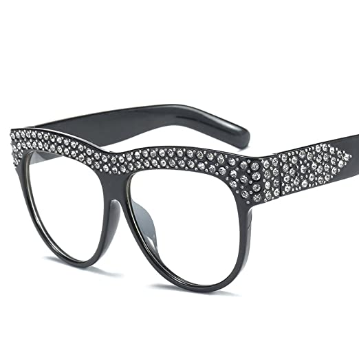 48cfacd1d4 Rhinestone Eyeglasses Cat Eye Glasses Frames For Women Fashion Accessories  (Black with clear)