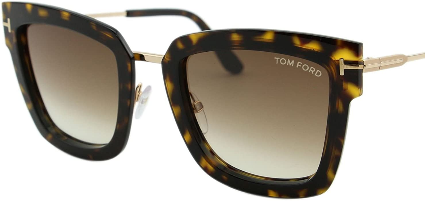 33aaff5722 2018 Tom Ford Lara-02 FT0573 Women Dark Havana   Gold Square T Logo  Sunglasses