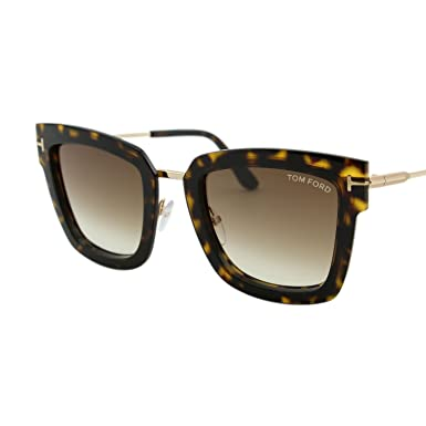 013222ef3ac 2018 Tom Ford Lara-02 FT0573 Women Dark Havana   Gold Square T Logo  Sunglasses