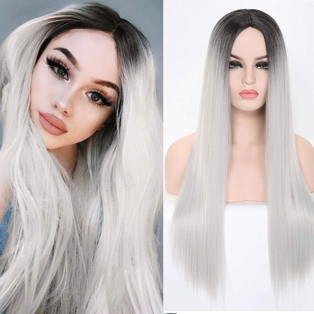 SHINYSHOW 24'' Silver Wig for Women Synthetic Straight Wig Middle Part Long Daily Wear Halloween Party Wig Cosplay Custome