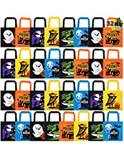 JOYIN 32 PCS Non-Woven Halloween Tote Gift Bags Colorful for Kids, 6 Patterns Design Trick or Treat Bags for Halloween Party Supplies, Reusable Candy Bag, Halloween Snacks Bags, Halloween Goodie Bags