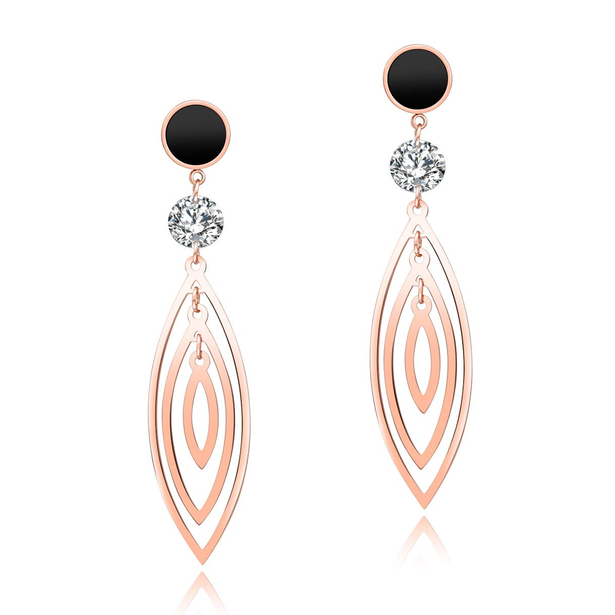 CHARMFAME Ethnic Rose Gold Plated Stainless CZ Drop Earrings Steel Hollow Leaf Dangle Earrings for Women /& Girls