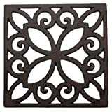 Decorative Cast Iron Trivet For Kitchen Or Dining Table | Square with Vintage Pattern - 6.5 x 6.5'' | With Rubber Pegs/Feet - Recycled Metal - Vintage, Rustic Design - Rust Brown Color - by Comfify