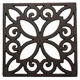 Comfify Decorative Cast Iron Trivet for Kitchen Or Dining Table | Square with Vintage Pattern - 6.5 x 6.5 | with Rubber Pegs/Feet - Recycled Metal - Vintage, Rustic Design - Rust Brown Color
