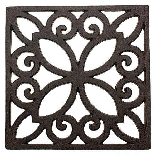 (Decorative Cast Iron Trivet For Kitchen Or Dining Table | Square with Vintage Pattern - 6.5 x 6.5