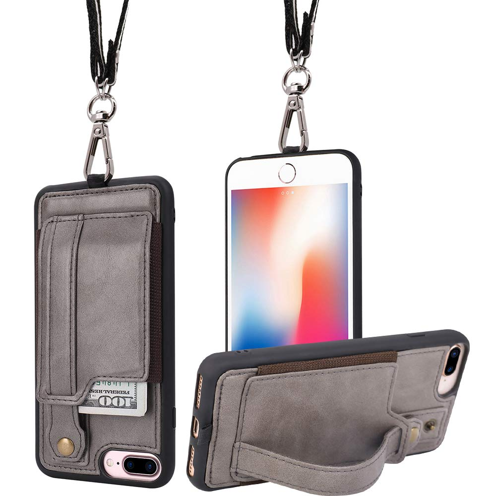 purchase cheap bd385 935ca TOOVREN iPhone 7 Plus Wallet Case, iPhone 8 Plus Wallet Case, Necklace  Lanyard Case with Kickstand Card Holder and Ajust Detachable Anti-Lost  Lanyard ...