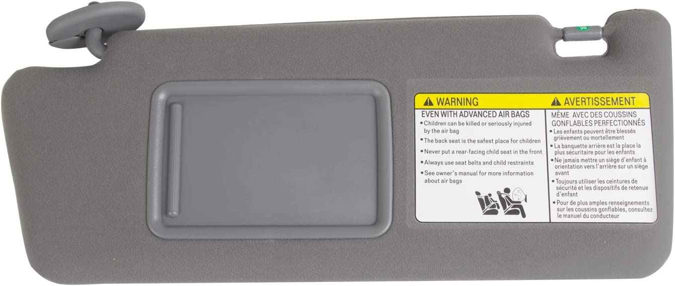 RANSOTO Left Driver Side Sun Visor Built in Makeup Mirror Compatible with 2005-2012 Toyota Tacoma Without Light,Replace Part# 74320-04181-B1