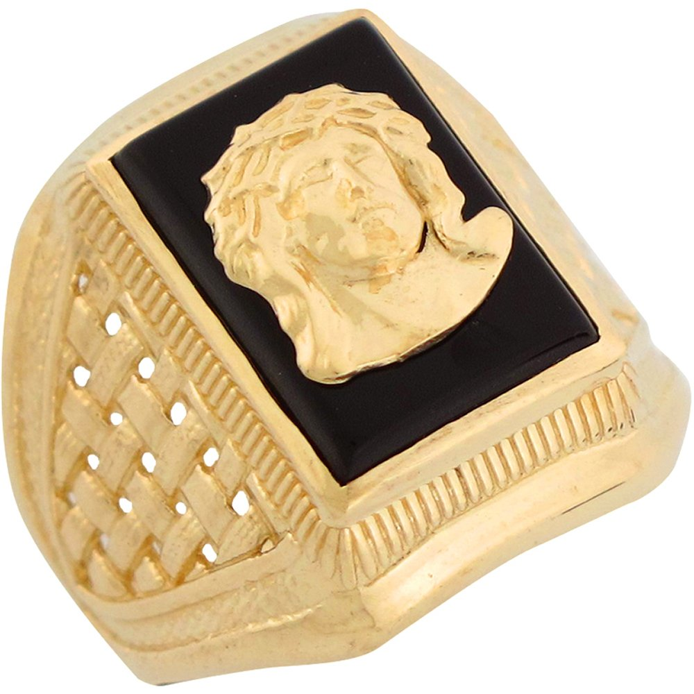 14k Yellow Gold Onyx Face of Jesus Religious Mens Ring