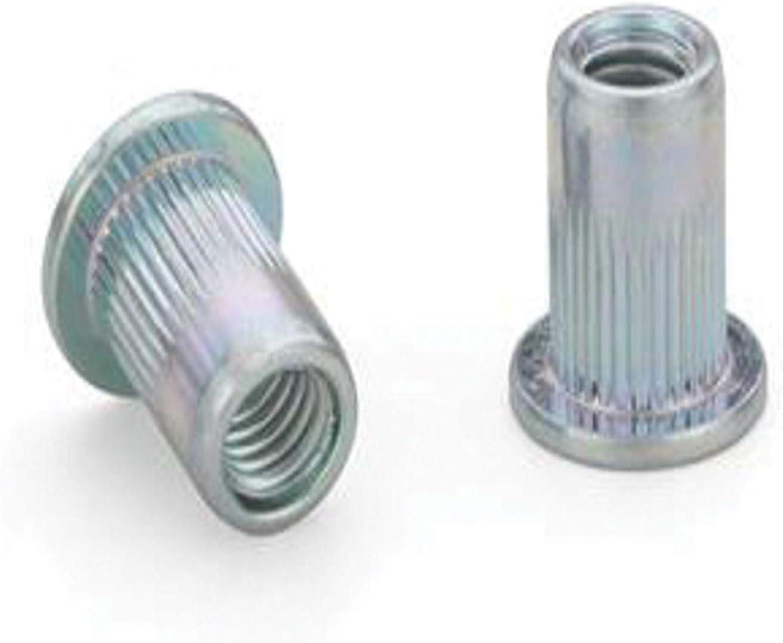 RIVETNUT AEFKS-M8-3.0ZI Steel RND Body Ribbed 0.51-3.00mm GR Zinc CLR 100 PK LG FLNG HD M8x1.25