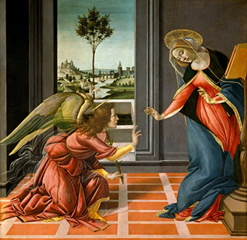 kunst für alle Art Print/Poster: Sandro Botticelli The Annunciation Picture, Fine Art Poster, 33.5x32.3 inch / 85x82 - Botticelli Annunciation
