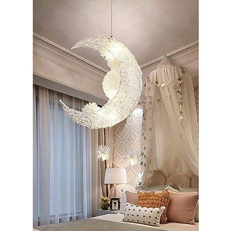 Creative Moon And Stars Fairy LED Lámpara Colgante Araña Luz ...