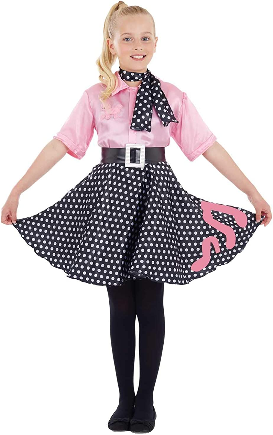 Girls 50s Poodle Dress Costume Kids Rock N Roll Polka Dot Decades Outfit
