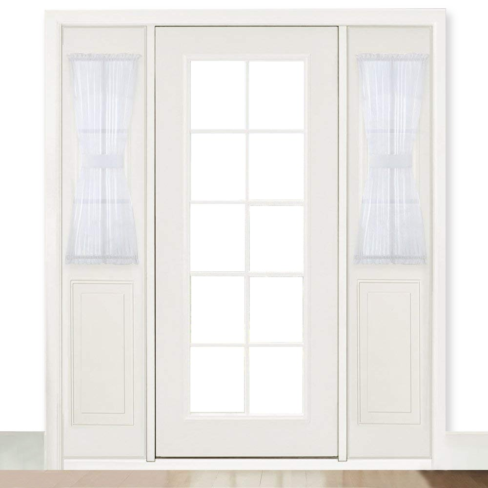 Ryb Home French Door Window Curtain Sheer Sidelight Curtains For