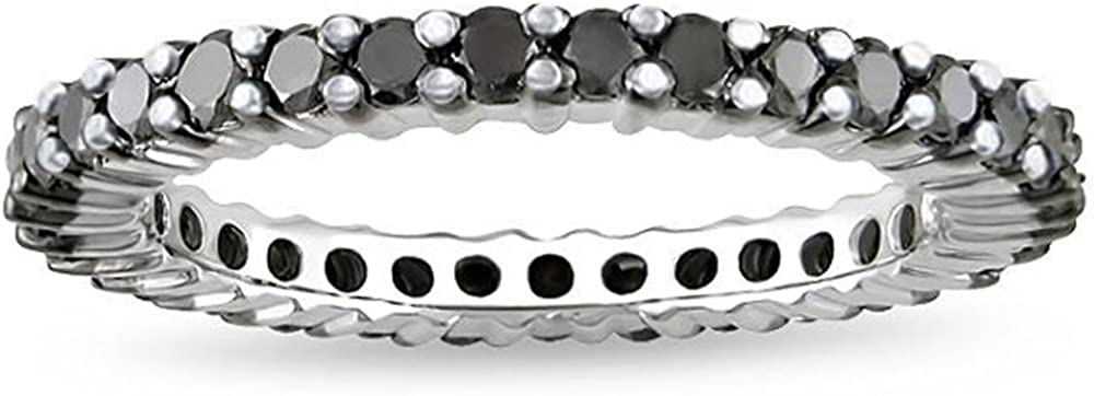 Dazzlingrock Collection 1.50 Carat (ctw) 14K Round Black Diamond Ladies Eternity Wedding Stackable Ring Band 1 1/2 CT, White Gold