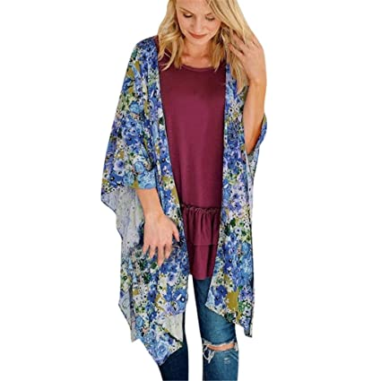 Kleidung & Accessoires Damenmode Ladies Chiffon Cardigan Bohemian Beach Summer Long Kimono Blouse Printed Floral