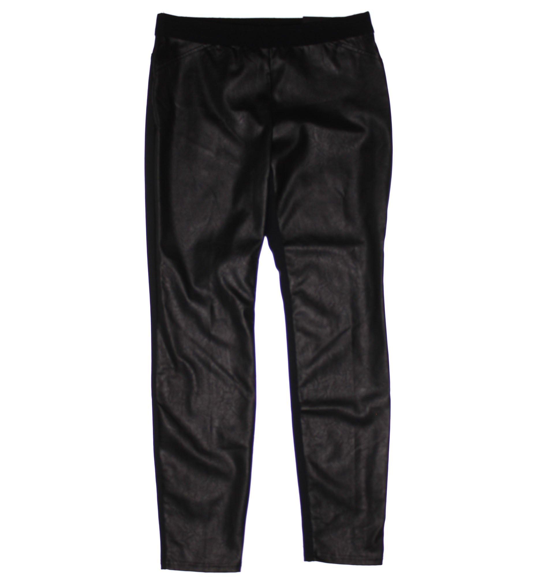 Alfani Womens Faux Leather Flat Front Casual Pants Black S