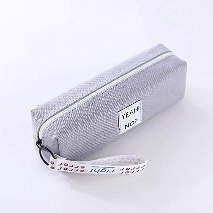 FairOnly - Estuche cuadrado de lona con cinta para guardar artículos de papelería, color gris: Amazon.es: Oficina y papelería