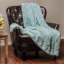 "Chanasya Super Soft Warm Elegant Cozy Fuzzy Fur Fluffy Faux Fur with Sherpa Wave Shape Embossed Plush Aqua Blue Microfiber Throw Blanket (50"" x 65"")- Turquoise"