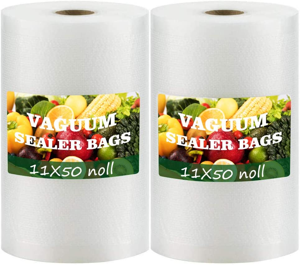 Vacuum Sealer Bags 11x50 Rolls for 2-Pack BPA Free Vacuum Seal Roll Vacuum Sealer Bags Rolls 11 Inch Vacuum Sealer Machine Bags Food Vacuum Sealers Fresh Saver Vacuum Bags Vacuum Seal Bags for Food Vaccum Sealed Bags Storage(Total 100 Feet)