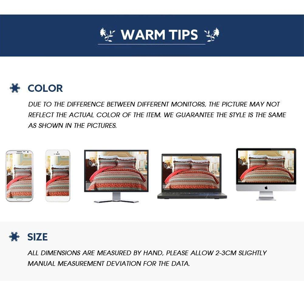 Red Reversible/&Decorative- Reversible/&Decorative- 1 Quilt 68 x 86 + 1 Pillow Shams 20 x 28 1 Quilt 68 x 86 + 1 Pillow Shams 20 x 28 Twin Size mixinni 100/% Cotton 3 Piece Striped Boho Style Bedspread Quilt Sets MI020 Red-T