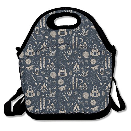 ZGZGZ Simple Backage Fire Camper Adjustable Straps Lunch Box Bag Tote Holder Suitable For Students And Working (Cowboy Dome Lunch Box)