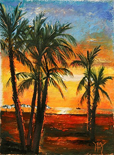 South Seas Sunset - a Tahiti beach sunset by internationally renown painter Yary (Tahiti Framed)