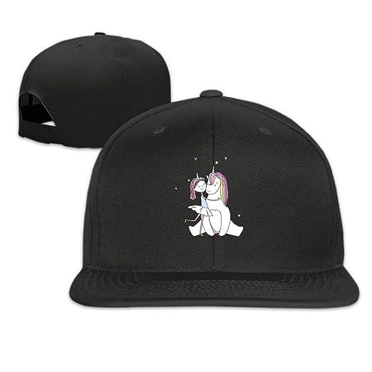 Girl-hugs-Unicorn Snapback Cap Flat Brim Hats Hip Hop Caps for Men Women 3aaaac0df444