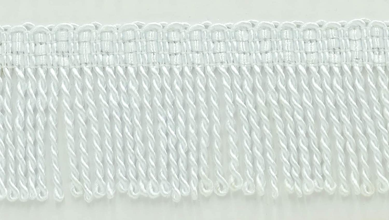 2 Inch Long White Thin Bullion Fringe Trim 30 Ft // 9.1 Meters Style# BFT2 Color: A1 DecoPro 10 Yard Value Pack