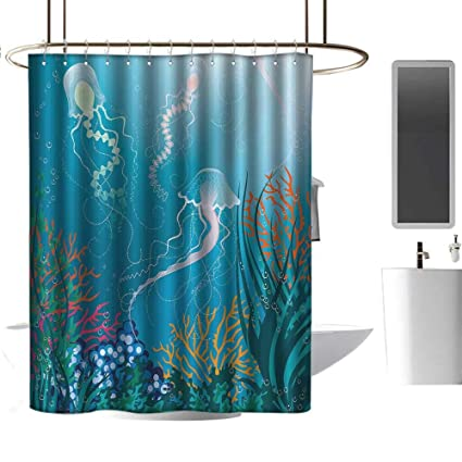 Wixuewu AquariumShower Curtains For Bathroom With Valance AttachedArtistic Jellyfishes Swimming Under The