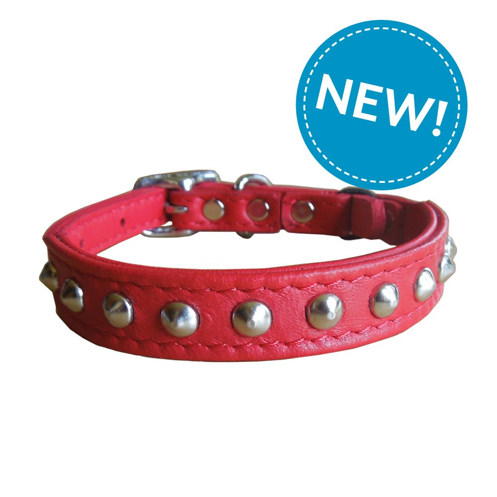 Outlaw Red Studded Leather Safety Cat Collar