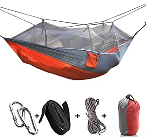 LISSO 2 Person Hammock with Mosquito Net, Single or Double Hammock Bug Net, Easy Assembly, Portable Outdoor Hammock for Trees Backyard, Camping, Backpacking, Survival, Travel & More (Orange)