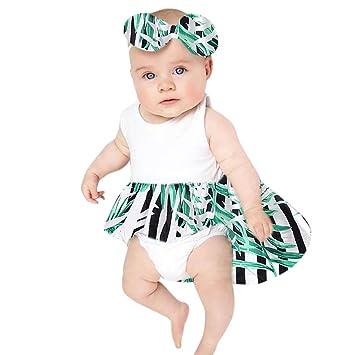 Mono Bebe, Amlaiworld Recién Nacido bebé niña Raya Mameluco Imprimir Vestido de Fiesta Princesa Traje + Diademas Conjunto de Ropa Bebés 3 Mes - 2 Años