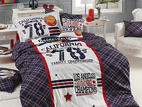 - 100% Cotton, Los Angeles California Basketball Bedding Set, Quilt/Duvet Cover Set, Exclusive Luxury Special Design, Single/Twin Size, (5 PCS, All Star)