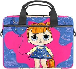 Cute Vintage Doll Laptop Case Canvas Pattern Briefcase Sleeve Laptop Shoulder Messenger Bag Case Sleeve for 13.4-14.5 inch Apple MacBook Laptop Briefcase