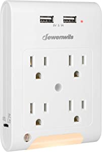 DEWENWILS Multi Outlet Adapter with 2 USB Charging Ports (3.1A total), Light Sensor LED Night Light, 4 Outlets Wall Plug Extender for Travel/Home, 1080 Joules Surge Protector, ETL Listed, White
